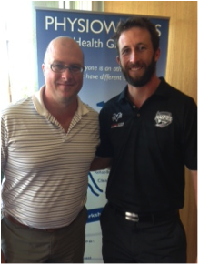 CMCC player Mark Dwyer with  Physioworks Brad Fernihough