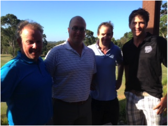CMCC President Peter Murphy (L) and Captain Coach Brendan Dew (R) with Physioworks Brad and David