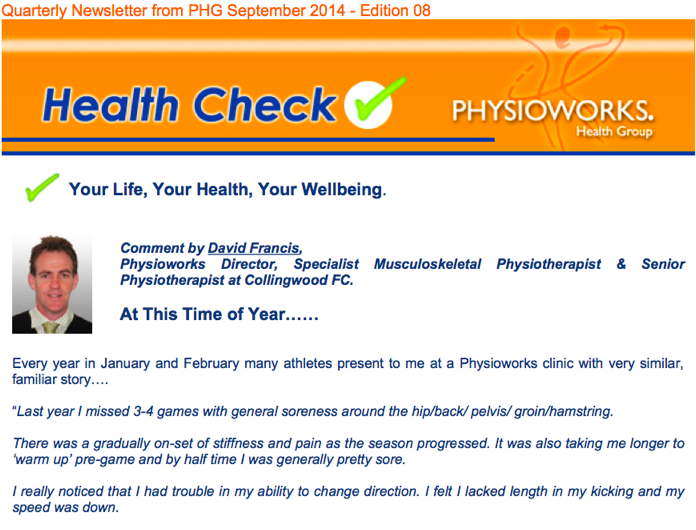 Physioworks Health Check Edition 8 2014